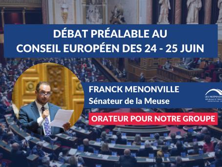 Franck MENONVILLE : Débat préalable à la réunion du Conseil européen des 24 et 25 juin
