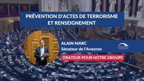 Alain MARC : Projet de loi relatif à la prévention d'actes de terrorisme et au renseignement