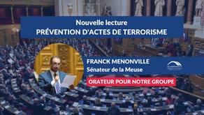 Franck MENONVILLE : Nouvelle lecture - Prévention d'actes de terrorisme et renseignement