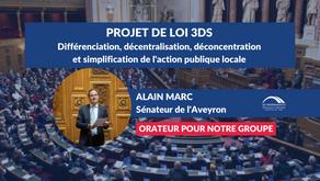 Alain MARC : Projet de loi 3DS - Décentralisation, simplification de l'action publique locale ...