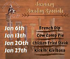 Open Range Facebook  Jan Sunday Specials