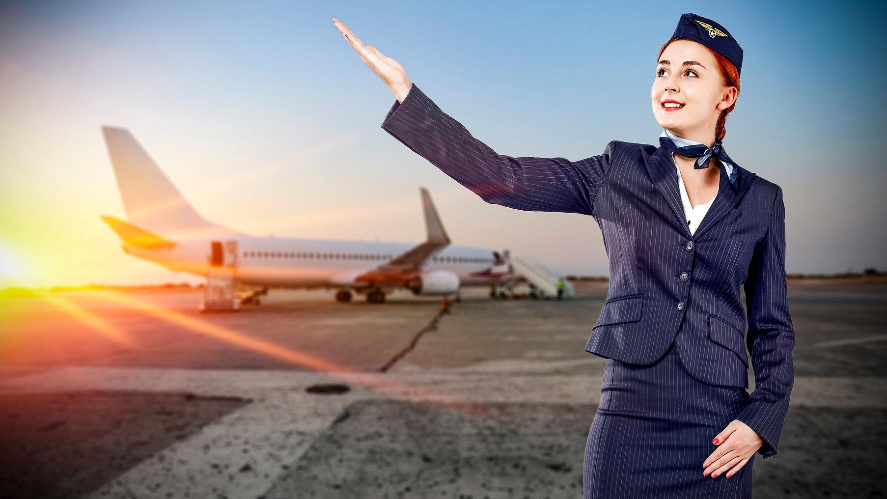 Toung slim stewardess and travel time .j