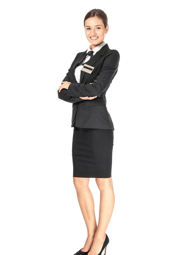 Female hotel receptionist in uniform on