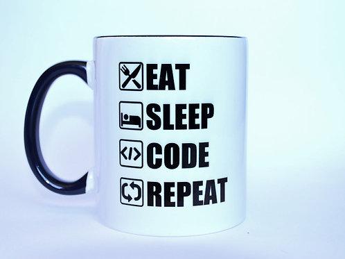 Caneca Eat Code Sleep Repeat