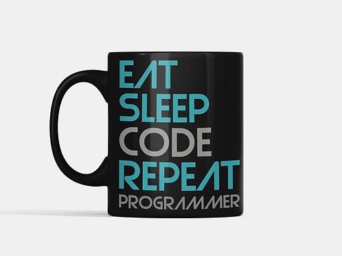 Caneca Eat Code Sleep Repeat - Preta