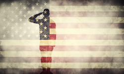 Double exposure of saluting soldier on USA grunge flag. Vintage, retro style. Patriotic design