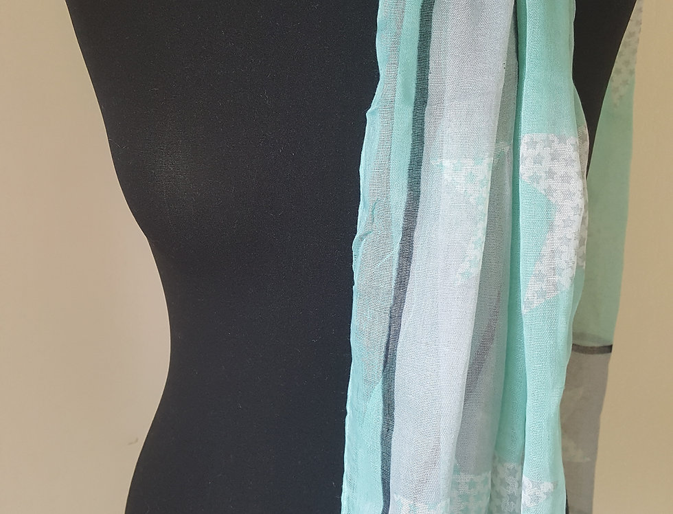 shawl - blauw/wit