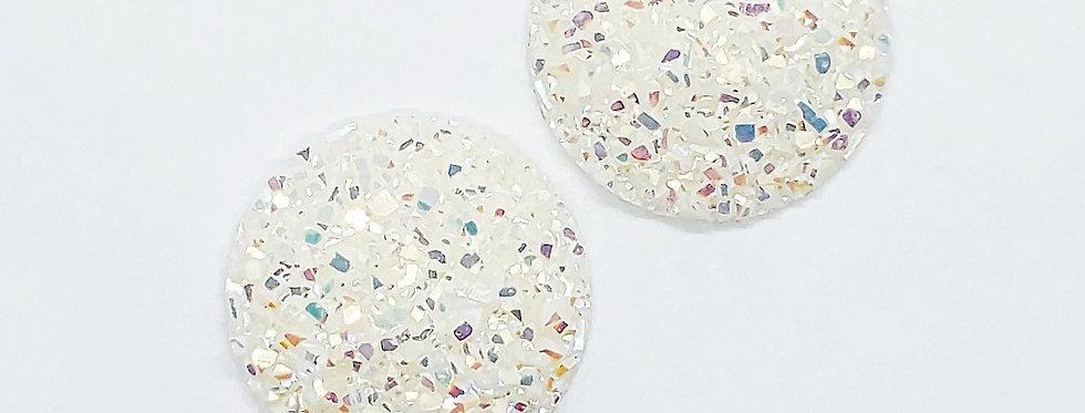 Cabochons 20mm Crystal White - 2 Stuks