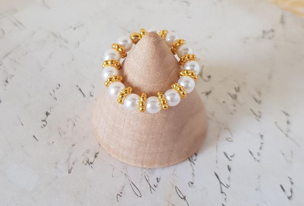 Handgemaakte ring met parels - elastisch