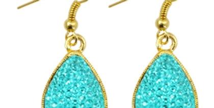 oorbellen druppel goud Turquoise blue