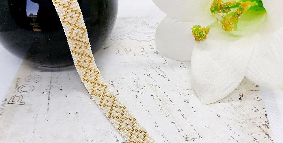 Handgemaakte armband met miyuki kralen - gebroken wit/ goud