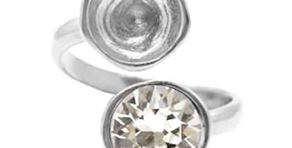 Metaal onderdelen DQ ring met settingen voor SS39 Antiek zilver (nikkelvrij)