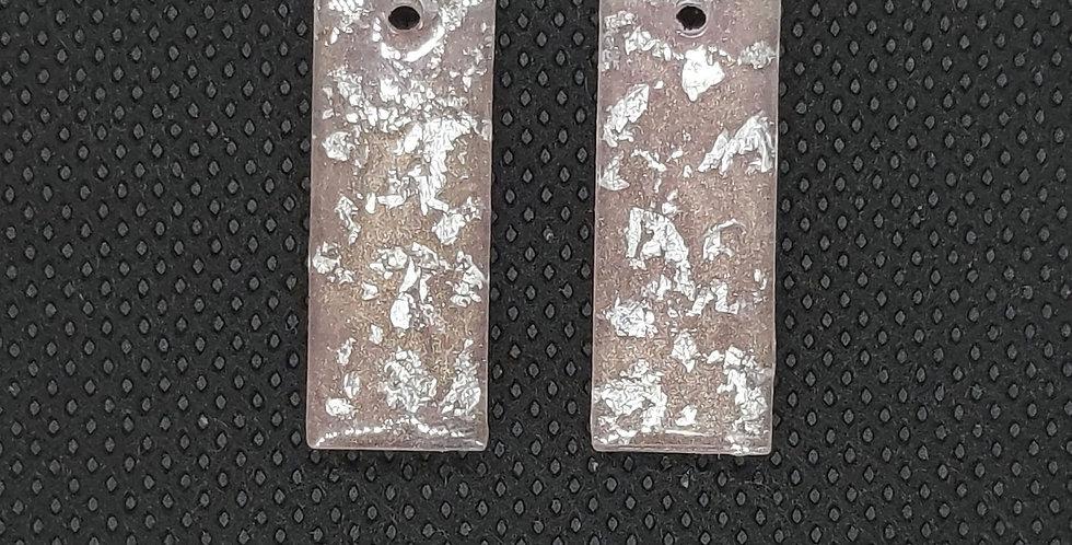 Resin Hangers 10x25mm kleur:Lichtroze/Zilver - 2 Stuks