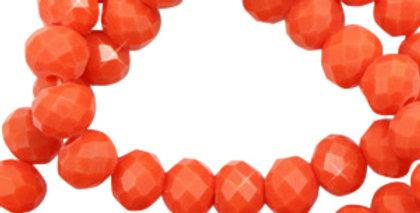 Facet kralen top quality disc 6x4 mm tango red-pearl shine coating 98 Stuks