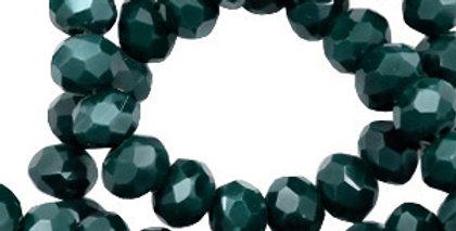 Facet kralen top quality disc 6x4 mm Deep green shine coating - 100 Stuks