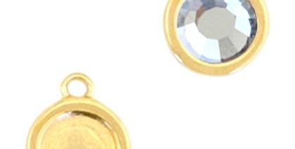 Metaal settings DQ rond 1 oog voor SS20 flatback Goud (nikkelvrij) - 10stuks