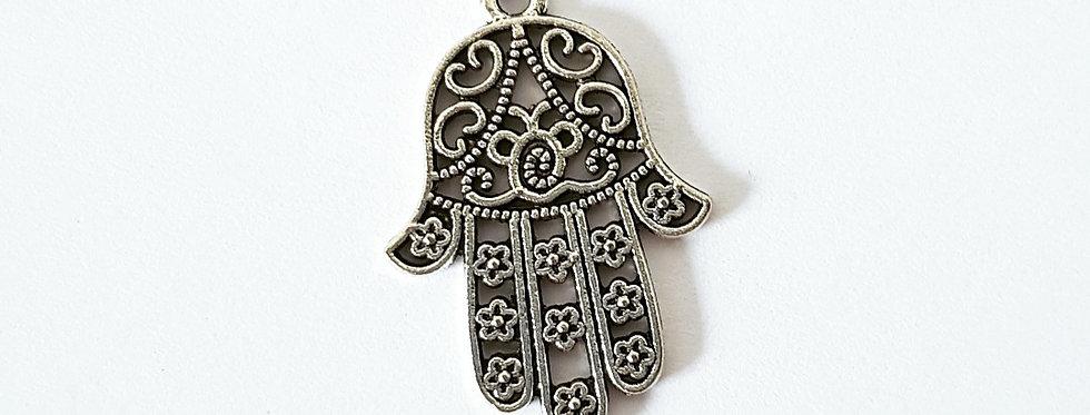 Metalen bedel Hamsa Hand 2.5cm Antiek Zilver - 1 Stuk