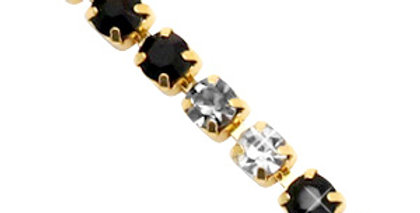 Strass chain ketting Black crystal-gold 3mm - 1 Meter