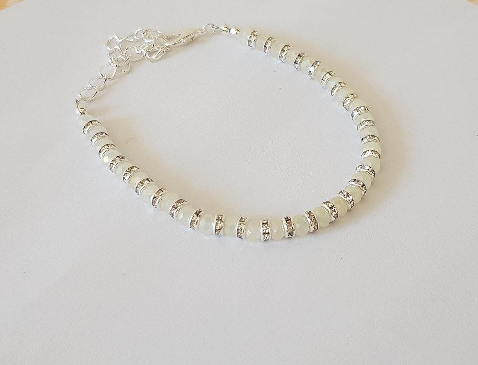 Handgemaakte armband met facet kralen en strass discs Mint/Zilver