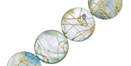 Schelp kralen 20 mm rond plat goldline Blue grey - 20stuks