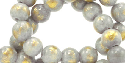 4 mm kralen natuursteen jade Light grey-gold - 92 Stuks