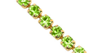 Strass chain ketting Lime green-gold 3mm - 1 Meter
