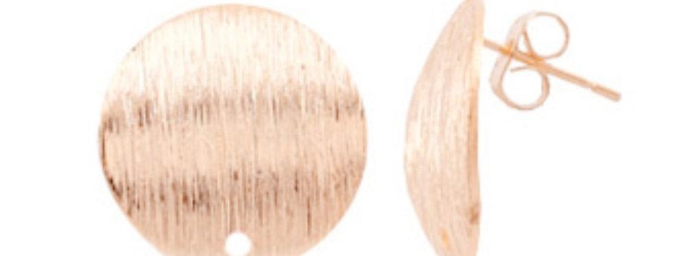 Metalen Earpins ca. 15mm kleur: Roségoud - 2 Stuks