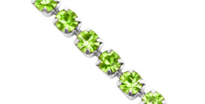 Strass chain ketting Lime green-silver 3mm - 1 Meter