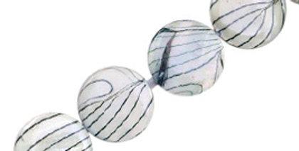 Schelp kralen 20 mm rond plat blackline Off white - 20stuks