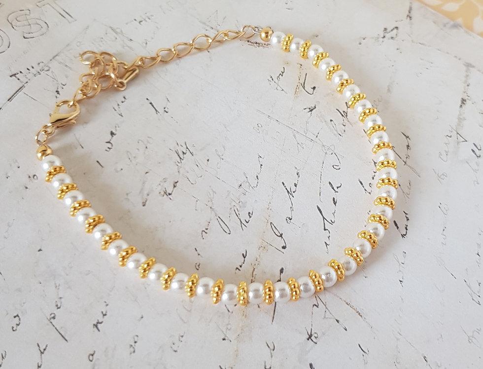 Handgemaakte armband met parels Goud/Wit