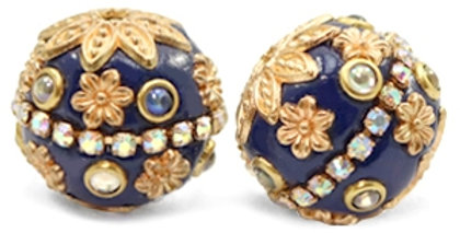 Kralen bohemian 20mm Dark blue-gold - 5stuks