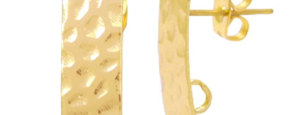 Metalen DQ Earpins 16x7mm kleur: Goud (Nikkelvrij) - 2 Stuks