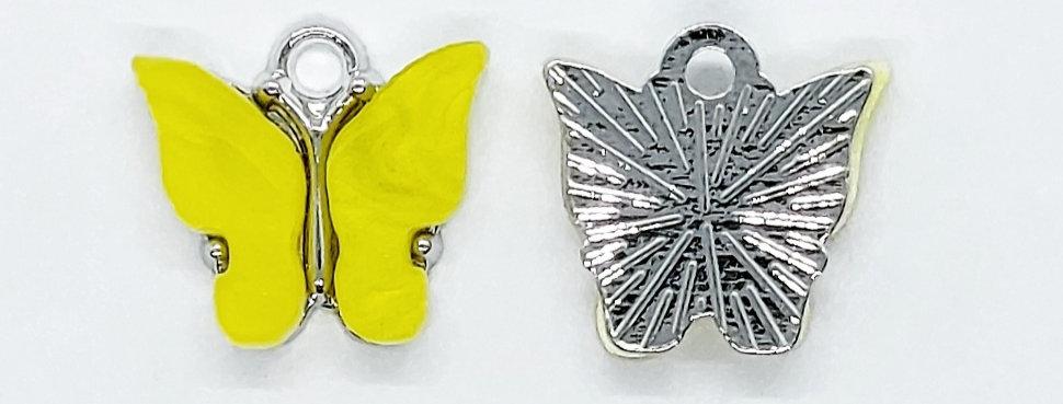 Vlinder Hangers ca. 13x13mm Geel/Zilver - 2 Stuks