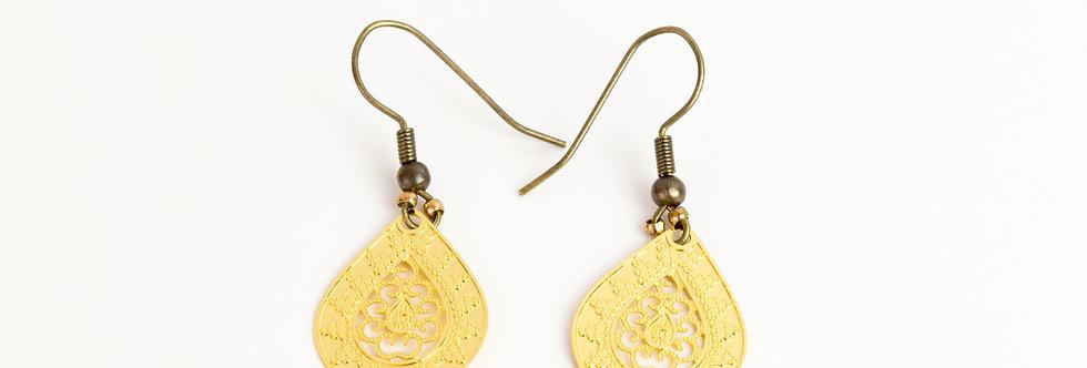 oorbellen met bohemian hanger - goud