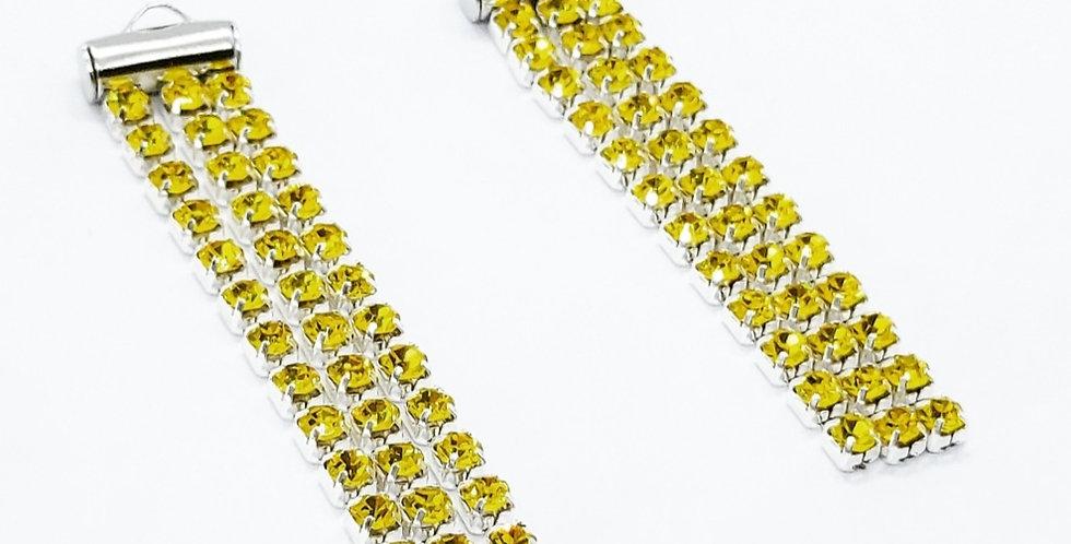 Strass Hangers ca. 4.5x1cm kleur: Zilver/Geel - 2 Stuks