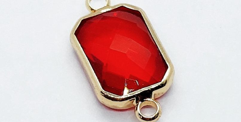 Crystal Glass Tussenstuk 10x14mm kleur: Goud/Rood - 2 Stuks
