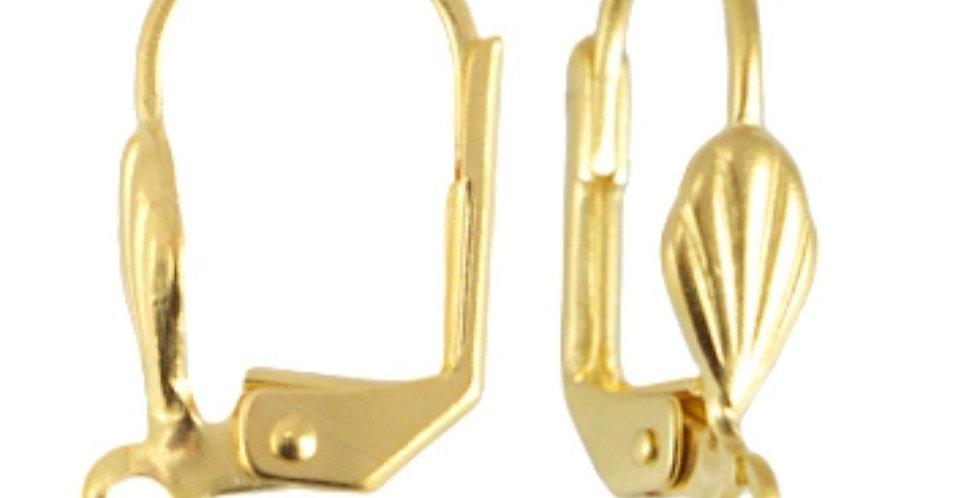 Metalen Oorhaakjes 18x10mm (Nikkelvrij) kleur: Goud - 4 Stuks