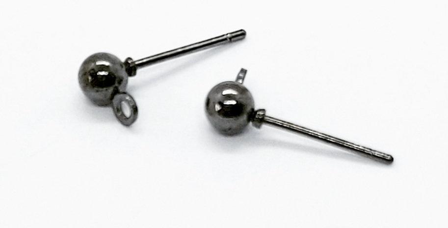 Earpins met 4mm Ball Lood-&Nikkelvrij kleur: Zwart - 6 Stuks