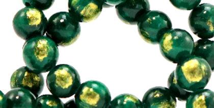 4 mm kralen natuursteen jade Dark green-gold - 92 Stuks