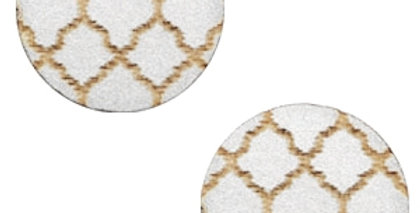 Cabochons hout Moroccan design 12mm Silver - 4stuks