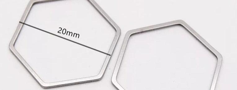 RVS Hexagram Bedel/Tussenstuk - 2 Stuks