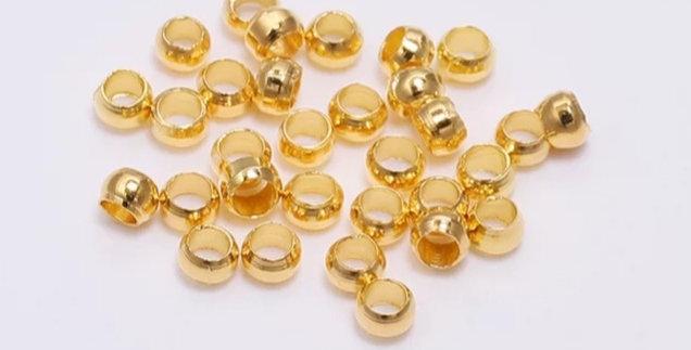 Knijpkralen 2.0mm kleur: Goud - 30 Stuks