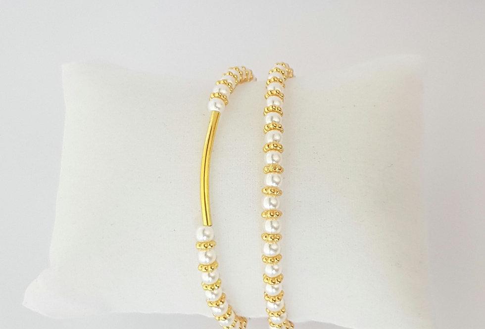 Prachtige handgemaakte armbanden met parels - Set van 2
