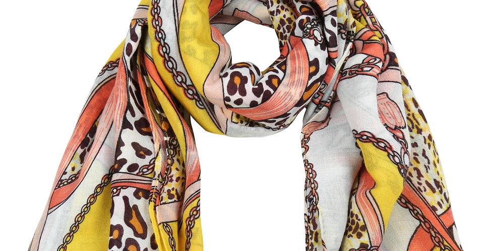 Sjaal met drie trendy prints in één