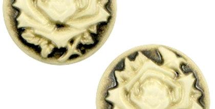 Cabochons basic camee 12mm roos Black-antique gold - 4stuks