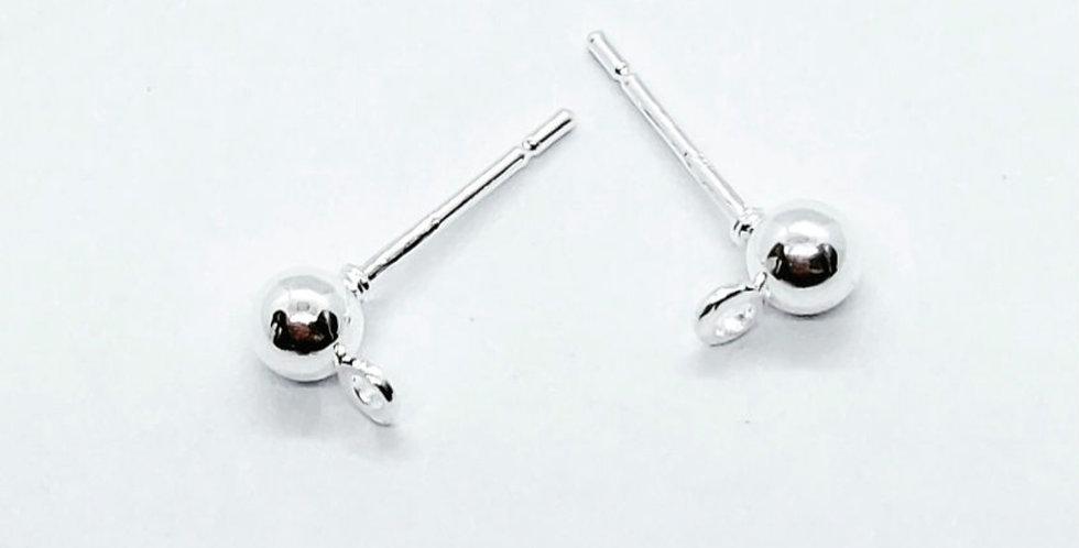 Earpins met 4mm Ball Lood-&Nikkelvrij kleur: Zilver - 6 Stuks