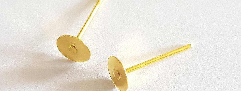 Metalen Earpins 5mm Goud - 10 Stuks