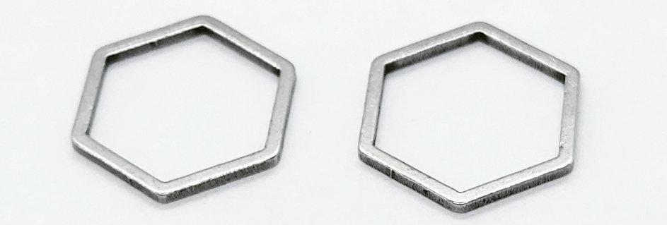 RVS Tussenstuk 12x13mm kleur: Antiek Zilver - 2 Stuks