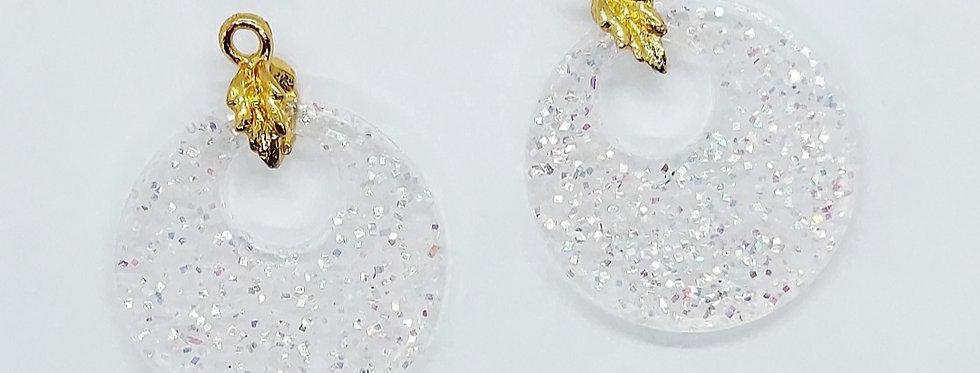 Handgemaakte hangers van Resin met Glitters / Transparant - 2 Stuks