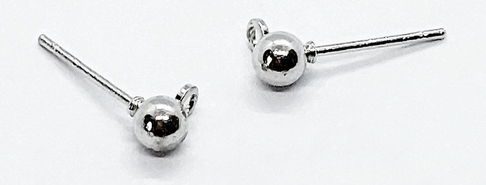 Earpins met 4mm Ball Lood-&Nikkelvrij kleur: Antiek Zilver - 6 Stuks